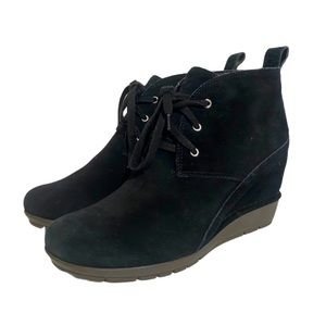 Rockport Desert Wedge Boots Black Suede Lace Up 8